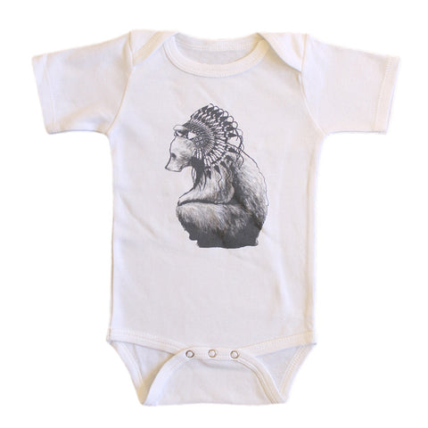 Brocky Bear Onesie White