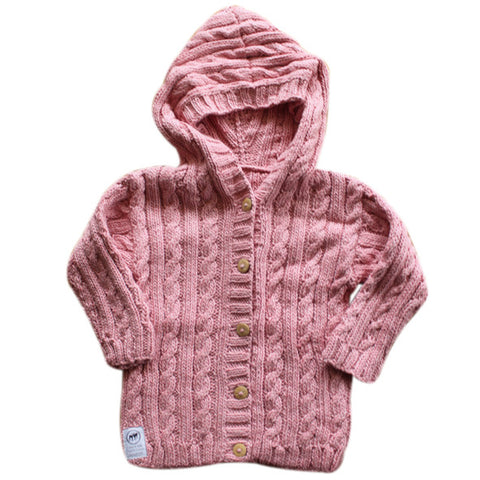 Cable Knit Hoodie - Dusty Poodle Pink