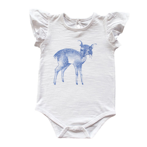 Dakota Deer Navy Frill Sleeve Onesie