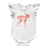 Dakota Deer Orange Frill Sleeve Onesie