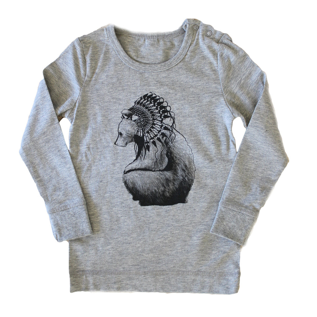 Brocky Bear Long Sleeved Top Grey