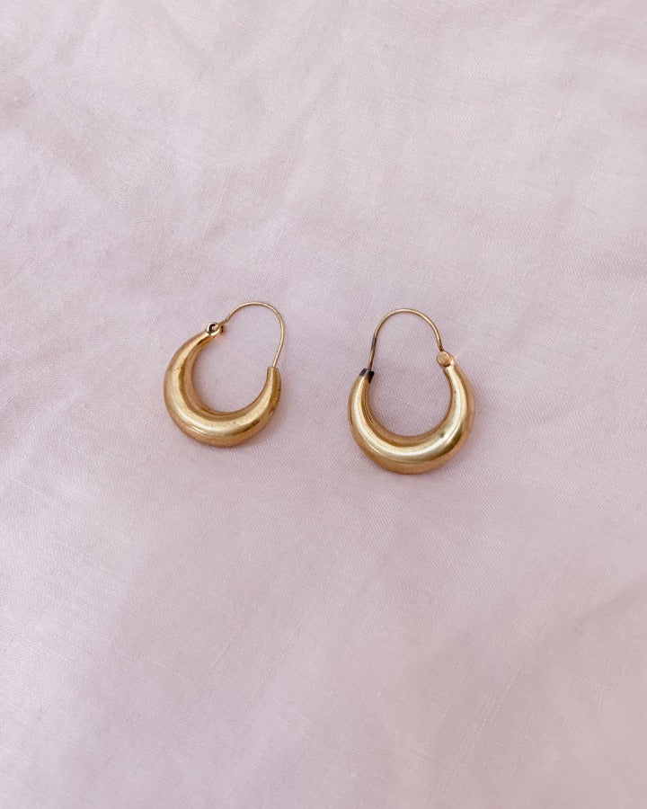 Suit of Lights Vintage Brass Crescent Earrings 1