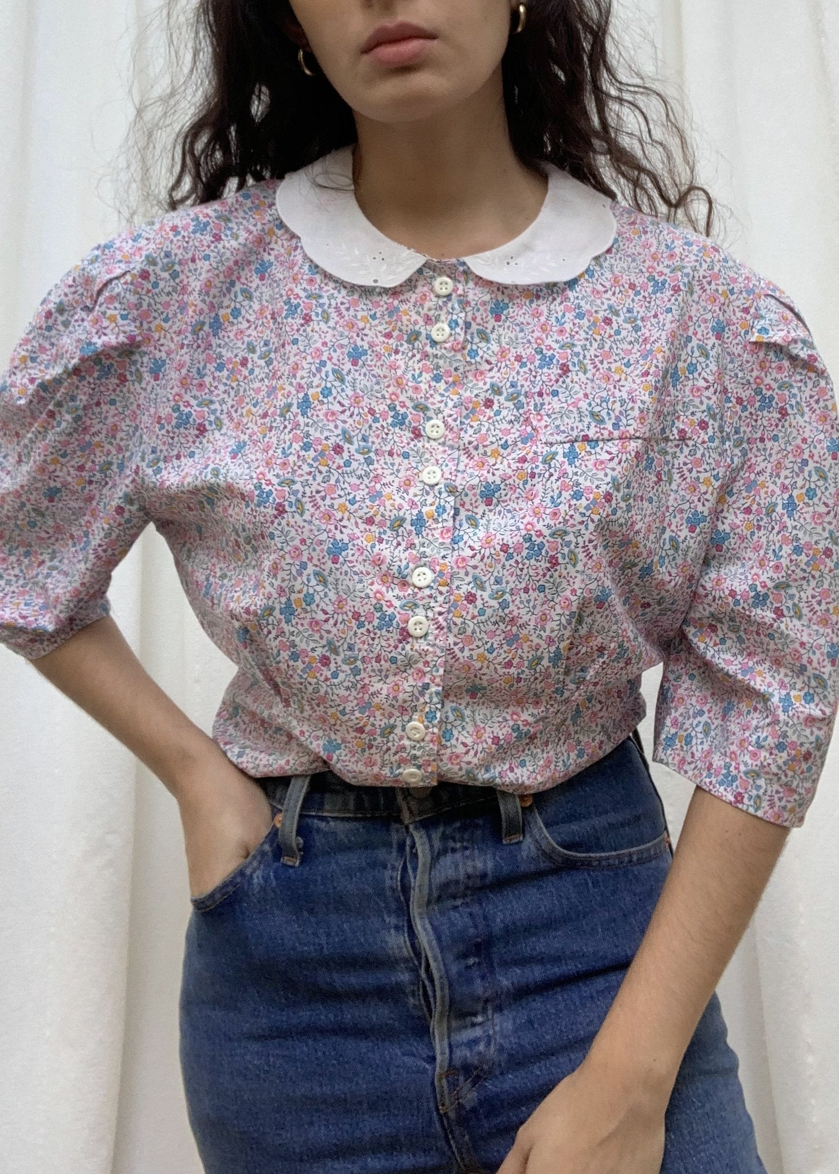 Suit of Lights Floral Puff Sleeve Colored Blouse 6