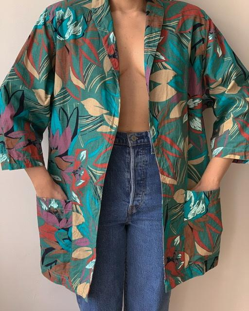 Suit of Lights Vintage Wrap Jacket With Tropical Print 1