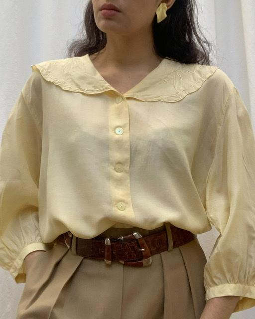 Suit of Lights Vintage Silk Blouse With Feminine Scalloped Collar 1