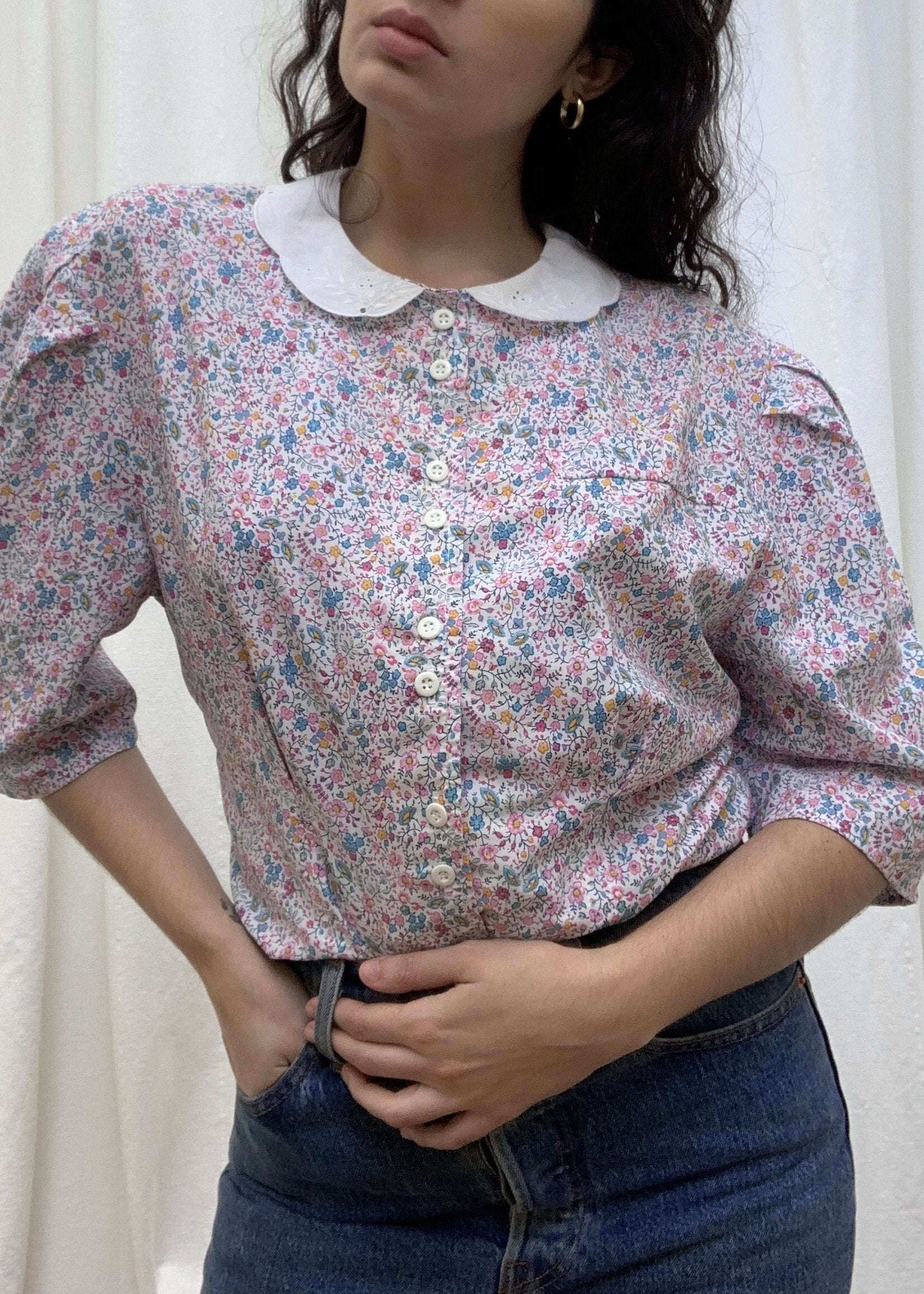 Suit of Lights Floral Puff Sleeve Colored Blouse 4