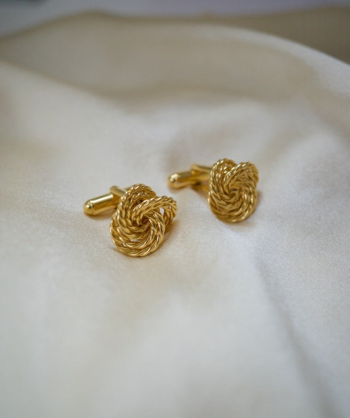 Suit of Lights Classic Vintage Gold Plated Rope Knot Cufflinks Image 1
