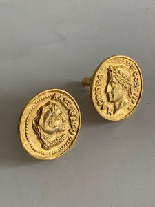 Suit of Lights Gorgeous Vintage Oversized Gold Plated Cufflinks Image 1