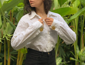 Suit of Lights Vintage Custom Eyelet Blouse with Cufflink Sleeves Image 5