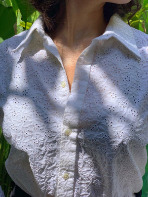 Suit of Lights Vintage Custom Eyelet Blouse with Cufflink Sleeves Image 2