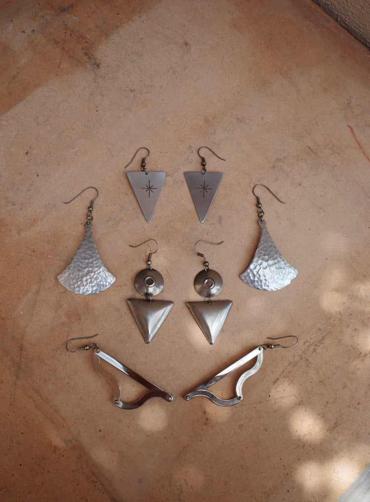 Artisanal Silver Stencil Earrings