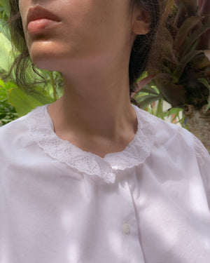 Vintage Cotton Cropped Blouse With Ruffle Lace Collar 2