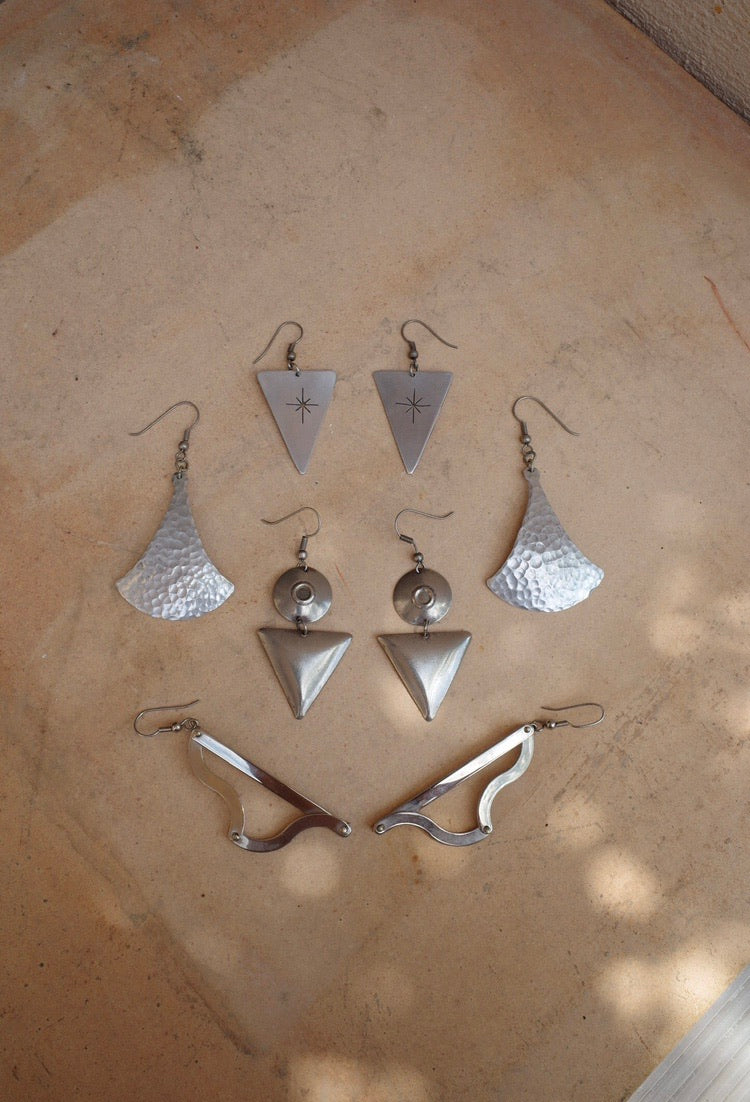 Vintage Chilean Silver Geometric Earrings