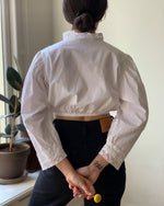 Vintage Cotton Cropped Blouse With Ruffle Lace Collar 4