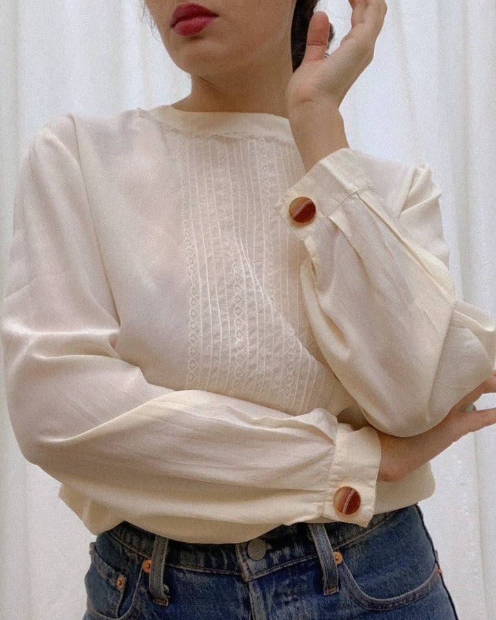 Vintage Silk Blouse With Lace Pleating and Cufflinking Sleeves