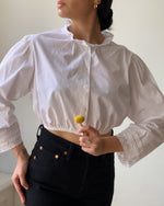 Vintage Cotton Cropped Blouse With Ruffle Lace Collar 5