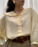 Vintage Silk Blouse With Feminine Scalloped Collar