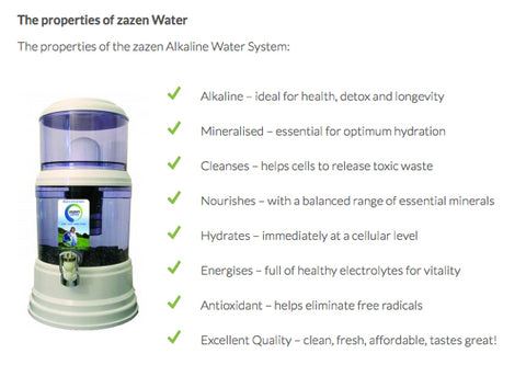 Properties of the zazen Alkaline Water System