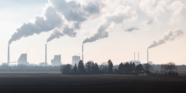 Smoking Chimneys of a Coal Fired Power Plant