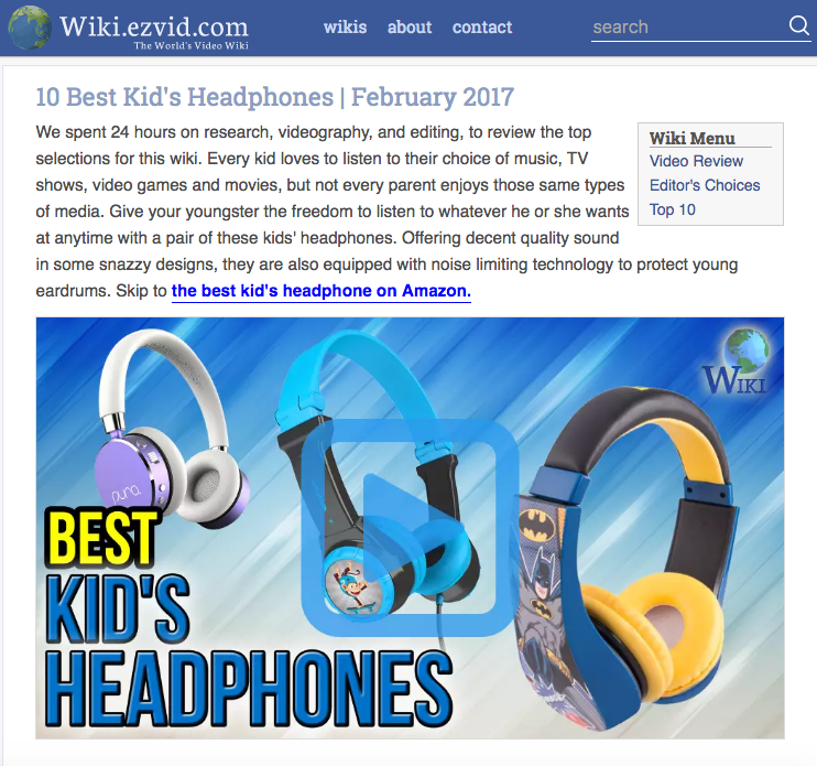 Wiki.ezvid.com - 10 Best Kid's Headphones | February 2017