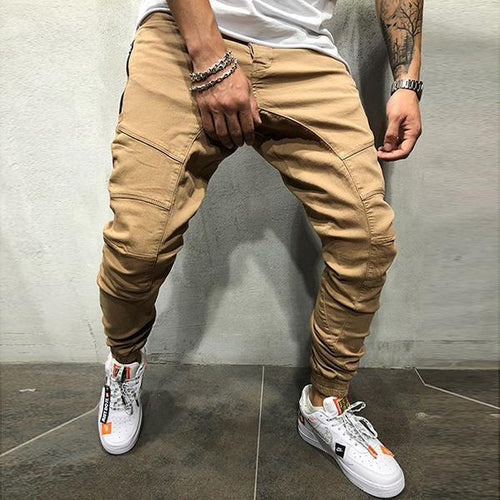 Street Style Men's Solid Color Slim-Fit Jeans