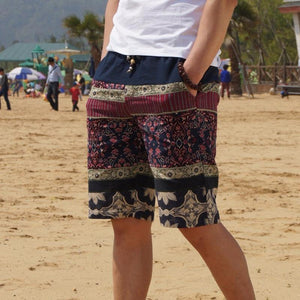 Men's Linen Large Size Flower Shorts Beach