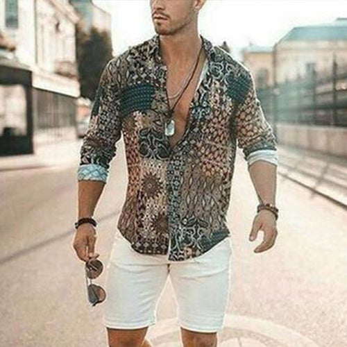 Men's Hawaiian Style Vintage Printing Loose Shirt
