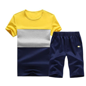 Summer New Men's Round Neck Color Matching Large Size Casual Sports Suit