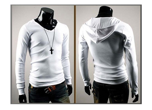 2018 Summer Fashion Men's Hooded Long-Sleeved T-Shirt
