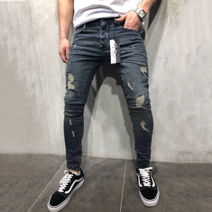 High Street Fashion Slim Personality Knee Hole Jeans