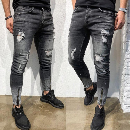 Street Style Plain Hole Zipper Slim Jeans Pants