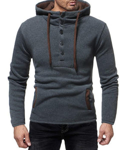 Men Solid Hoodies Sweatshirt Button Chic Hit Color Long Sleeve Sweatershirts