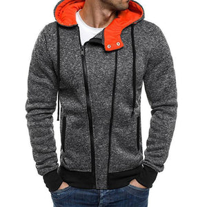 Men's Diagonal Zipper Sports Hooded Casual Jacket