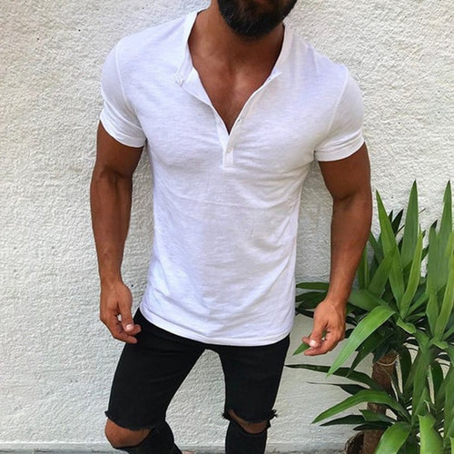 Chic Short Sleeves Plain Slim T Shirt