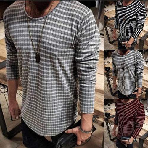 Men's Fashion Striped Loose Long Sleeve T-Shirt