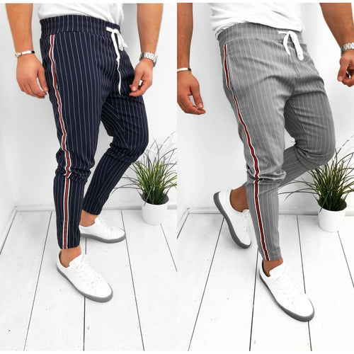 2019 Drawstring Striped Zipper Decorated Slim Pants
