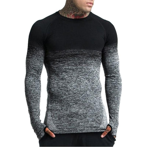 Fashion Round Neck Gradient Long-Sleeved T-Shirt