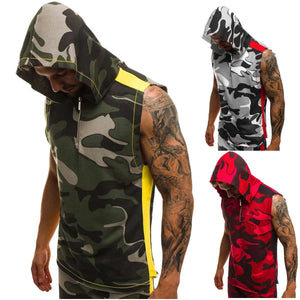 Camouflage Printed Sports Fitness Sleeveless Hooded Vest