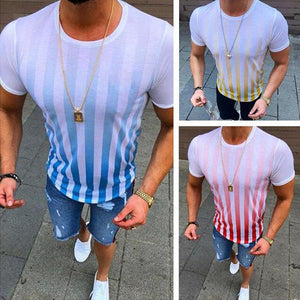 Men's Fashion Striped Gradient Color Short-Sleeved T-Shirt