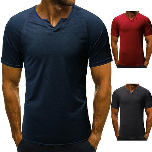 Men's Fashion Solid Color V-Neck T-Shirt