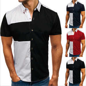 Men's Slim Fit Casual Fashion Splice Shirt