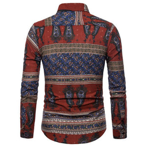 Men's Casual Fashion Printed Pattern Blouse
