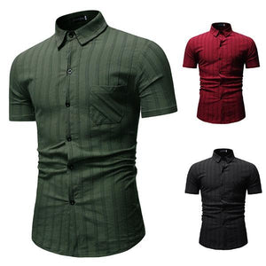 Gentleman Fashion Striped Short Sleeve Shirt