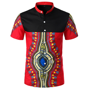 Men's Fashion Colorblock Stand Collar Short Sleeve Shirt