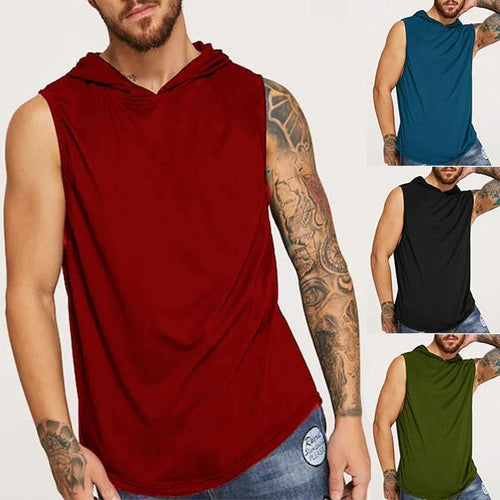 Men's Fashion Solid Color Hooded Tank