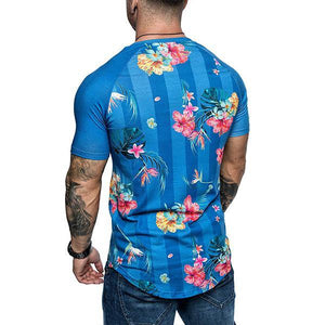 Men's Fashion Floral Print Raglan Sleeve T-Shirt