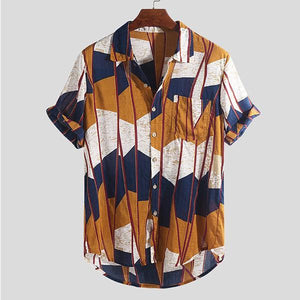 2019 Summer New Men's Fashion Loose Casual Printed Short-Sleeved Shirt