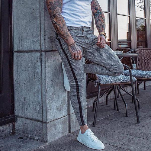 Men's Fashion Plaid Slim Pants
