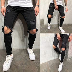 Street Fashion Solid Color Ripped Slim-Fit Pants