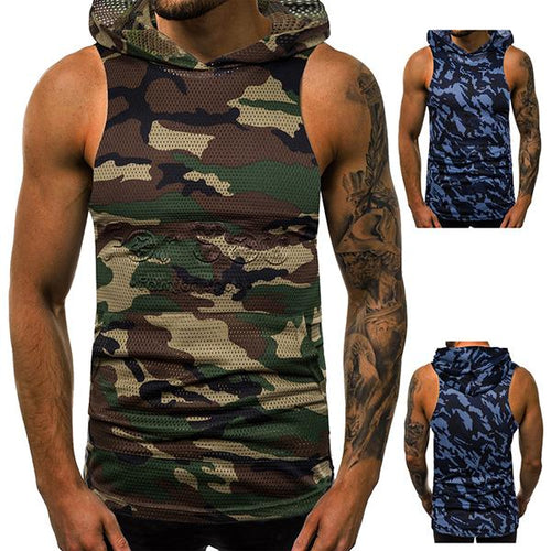 Fitness Fashion Camouflage Mesh Hooded Tanks